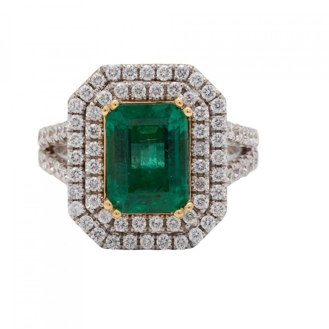18 Karat Gold, Emerald and Diamond Ring