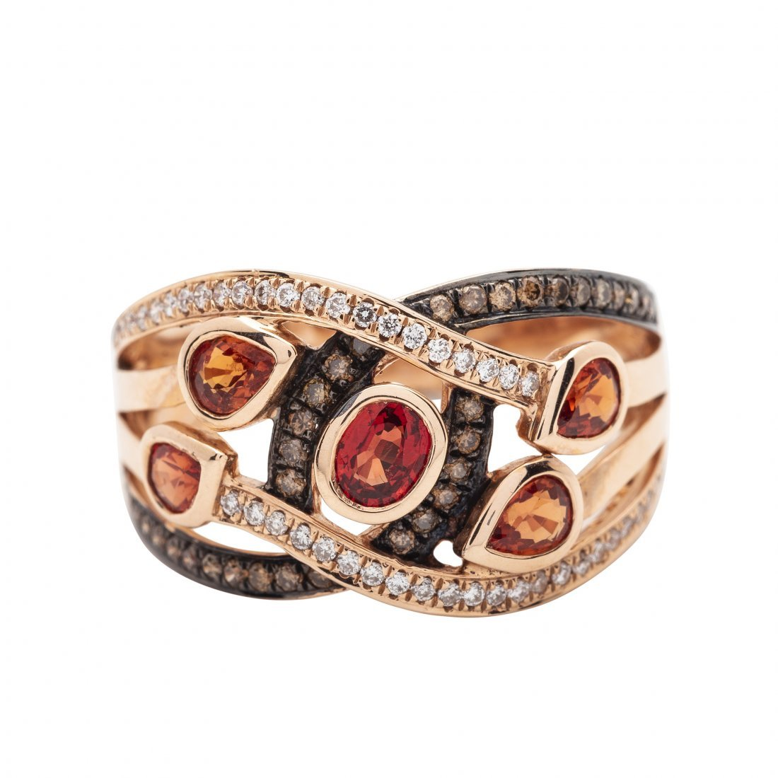 14KT White Gold, Colored Stone and Diamond Ring