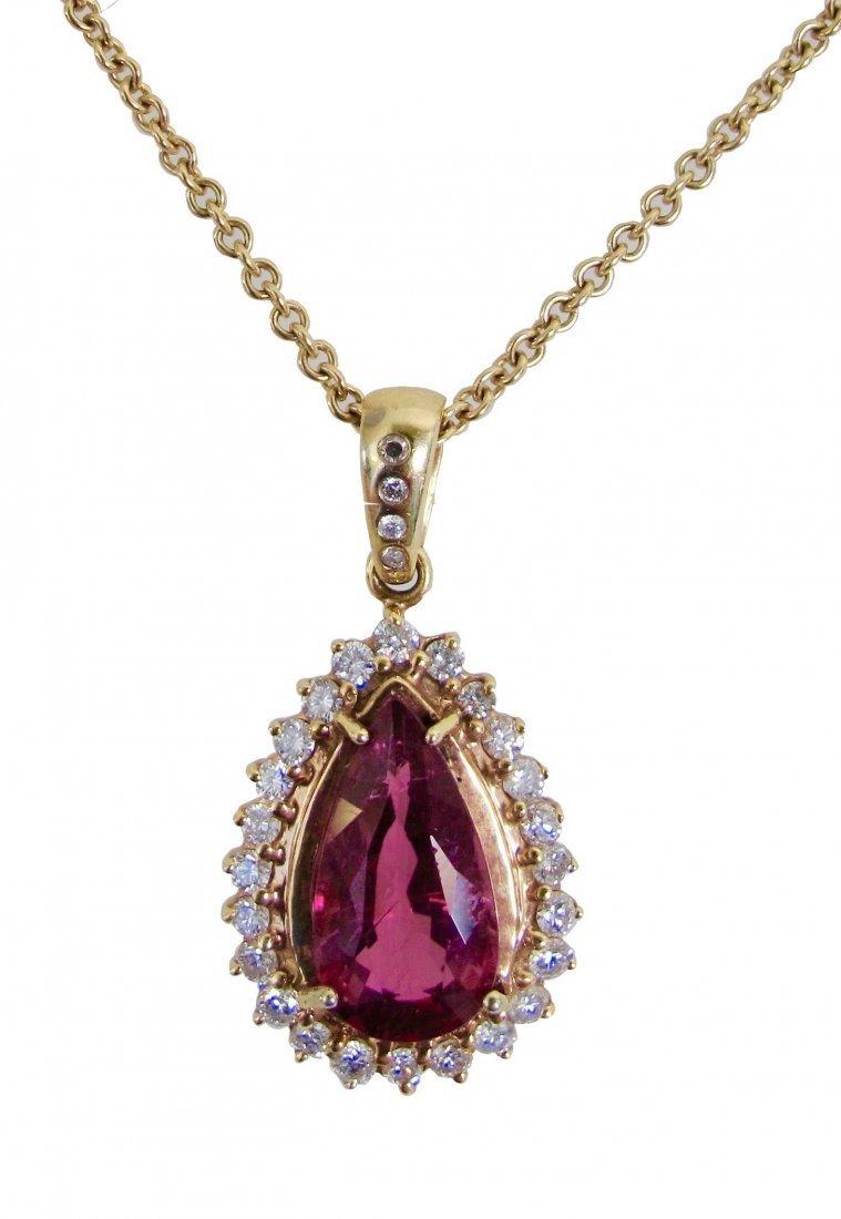 Tourmaline and Diamond Pendant Necklace