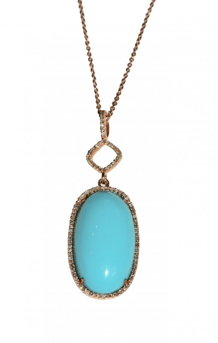 A Turquoise and Diamond Pendant Necklace