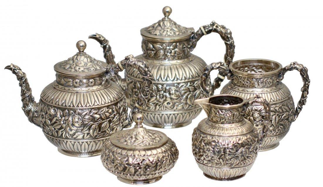 Fine Antique Caldwell Silver Tea & Coffee Service
