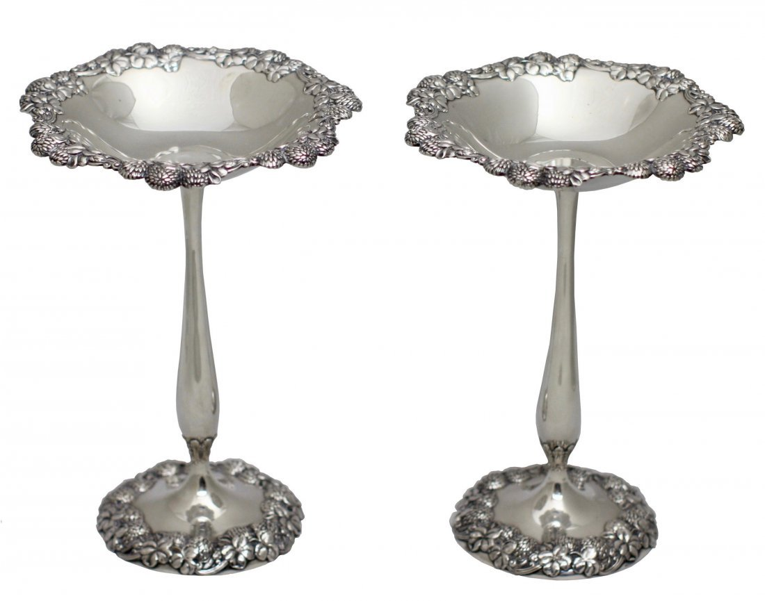Fine Pair of Tiffany Sterling Silver Compotes