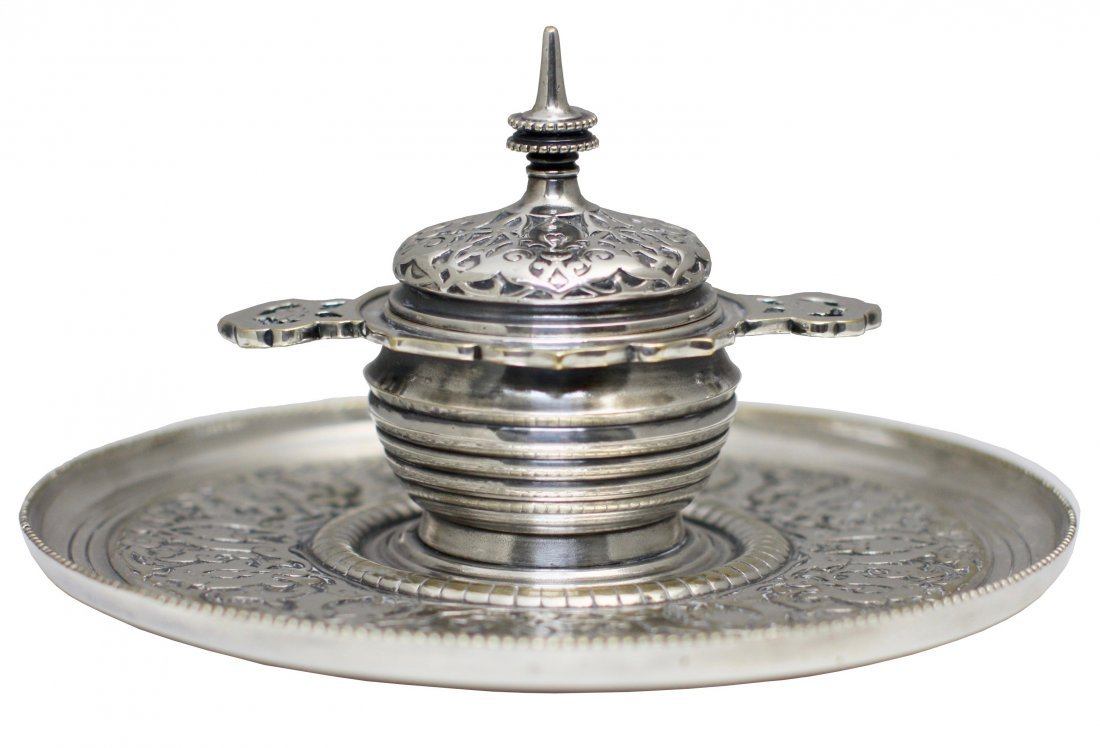 Tiffany Silvered Bronze Inkwell