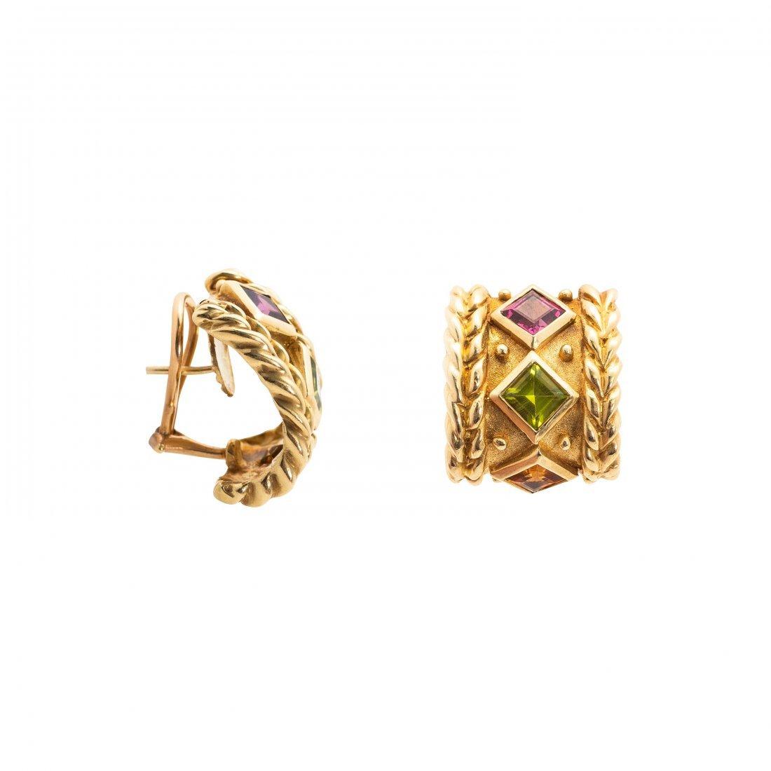 Pair of Tourmaline and Peridot Earrings