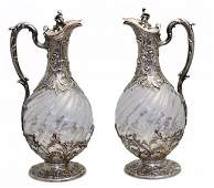 Pair of French Silver-Mounted Glass Claret Jugs, Paris