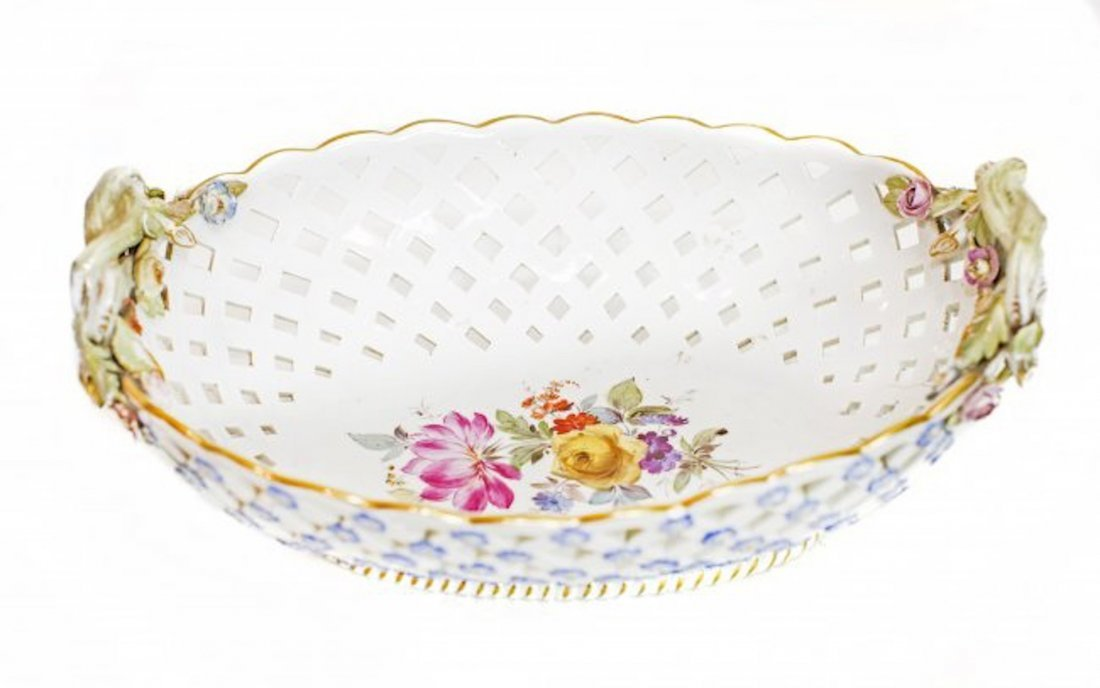 Meissen Porcelain Reticulated Two-Handled Basket