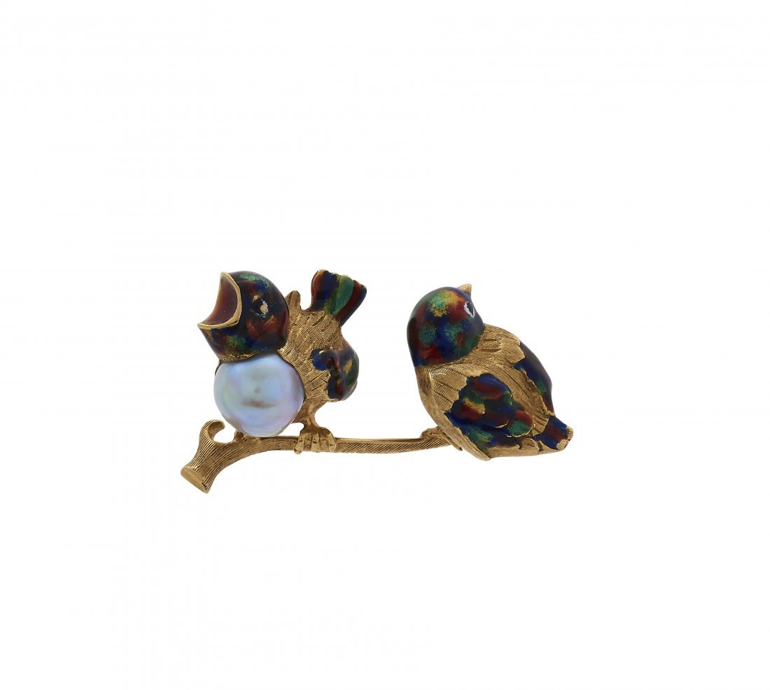 Enamel and Gold Brooch