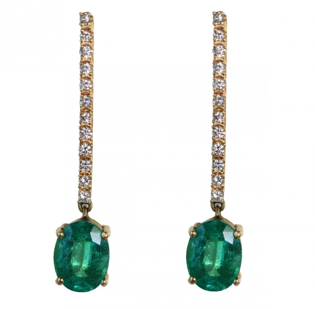 Emerald and Diamond 14kt Yellow Gold Earrings