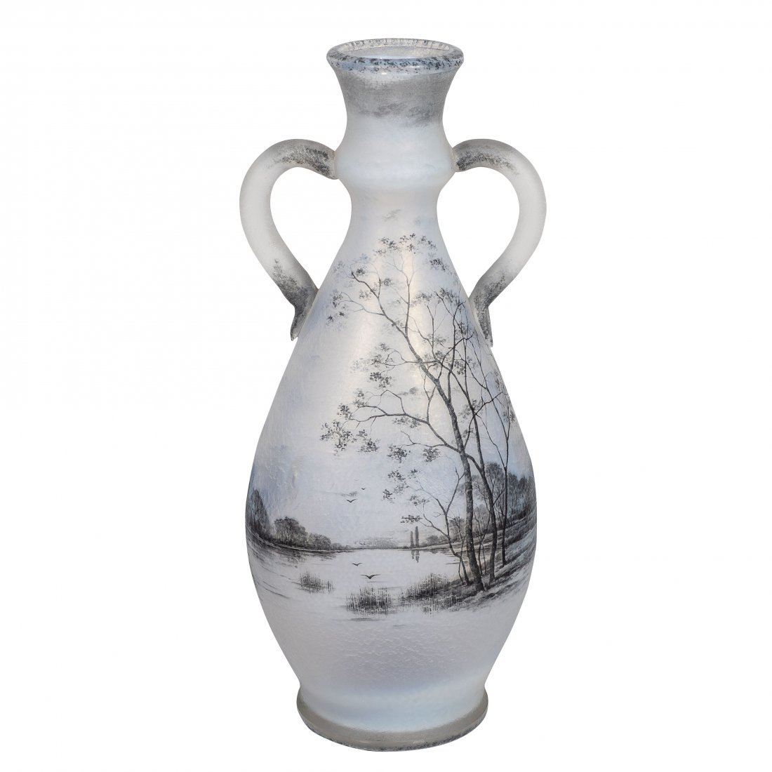 Daum Nancy Enameled Opalescent Glass Vase