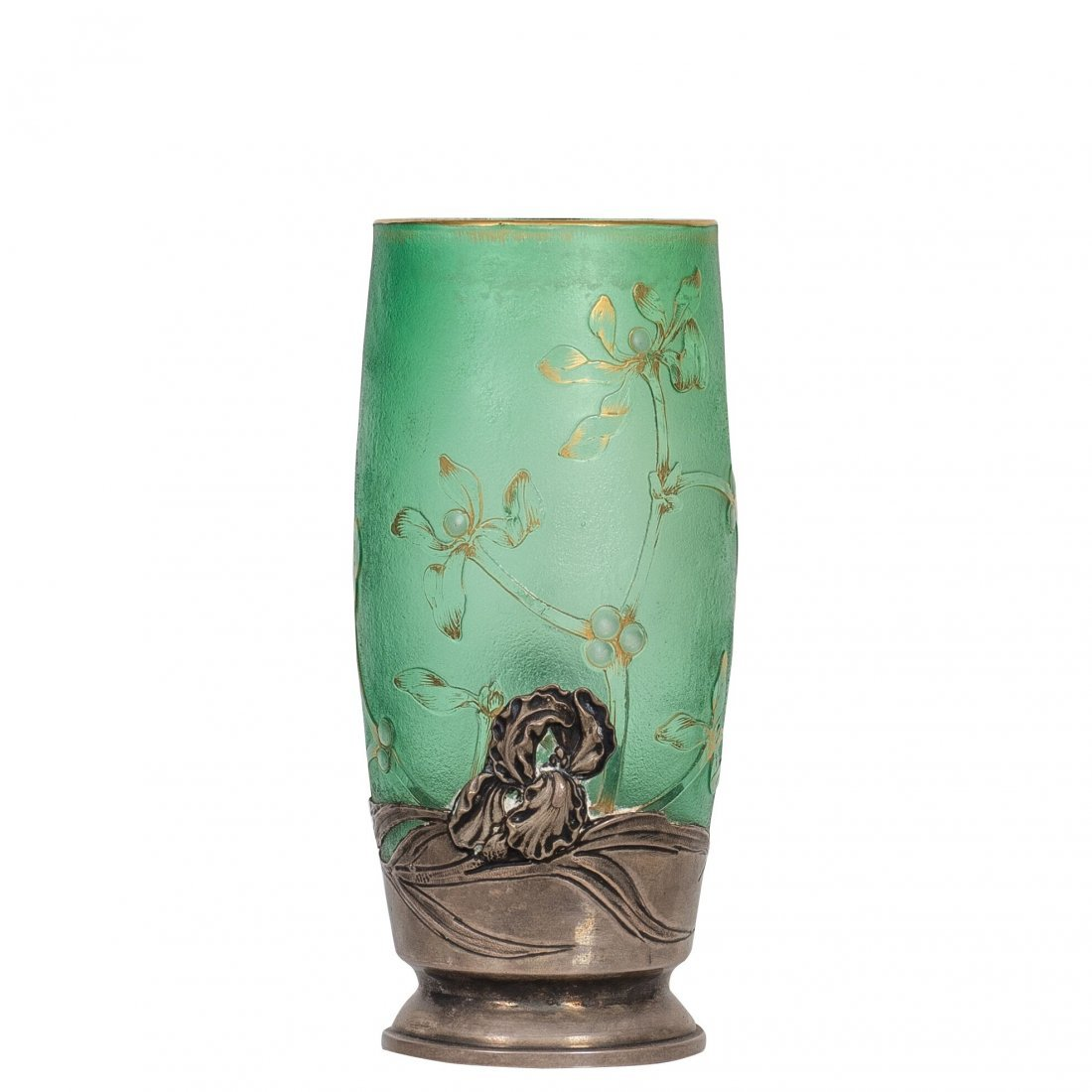 Daum Nancy Cameo and Gilt Silver Mounted Glass Vase