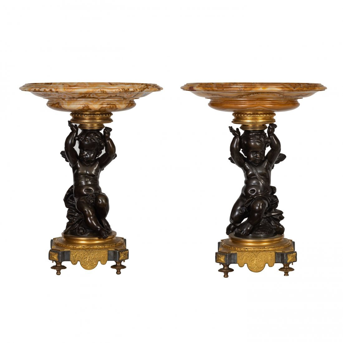 Pair of French Ormolu, Patinated Bronze Marble Tazze