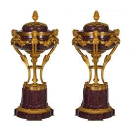 Pair Louis XVI Style Ormolu-Mountd Porphyry Cassolettes