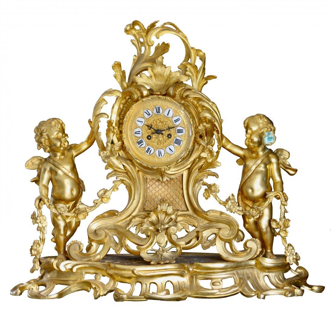 Large Louis XV Style Gilt Bronze Mantle Clock