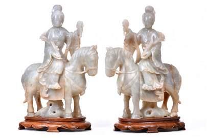 Pair of Jade Maidens on Horseback