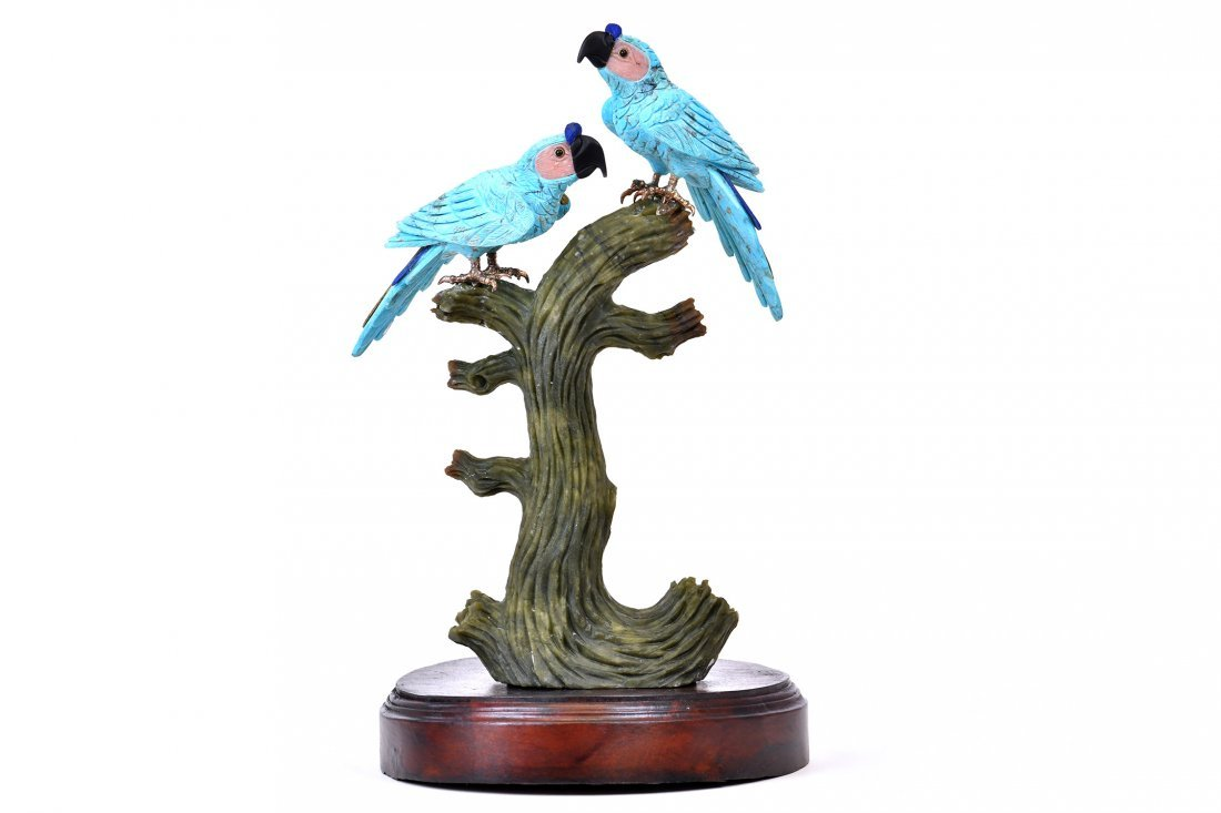 Turquoise Parrots Adorned with Semi-Precious Stones
