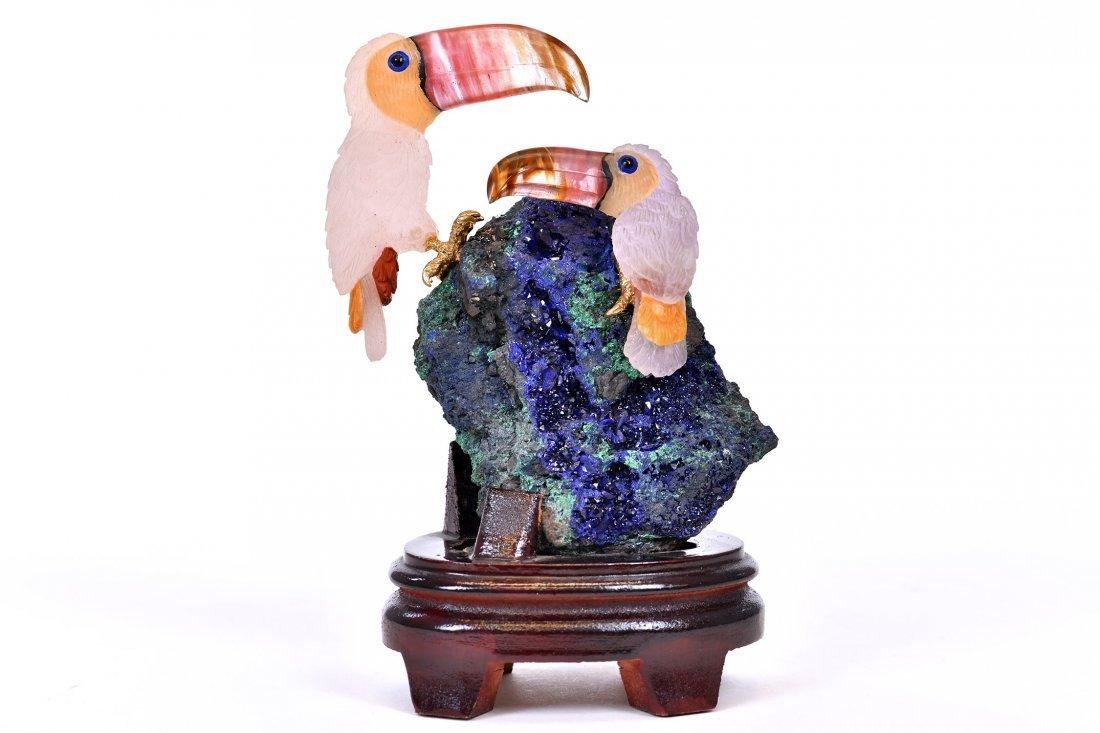 Rose Quartz Toucan Sculpture