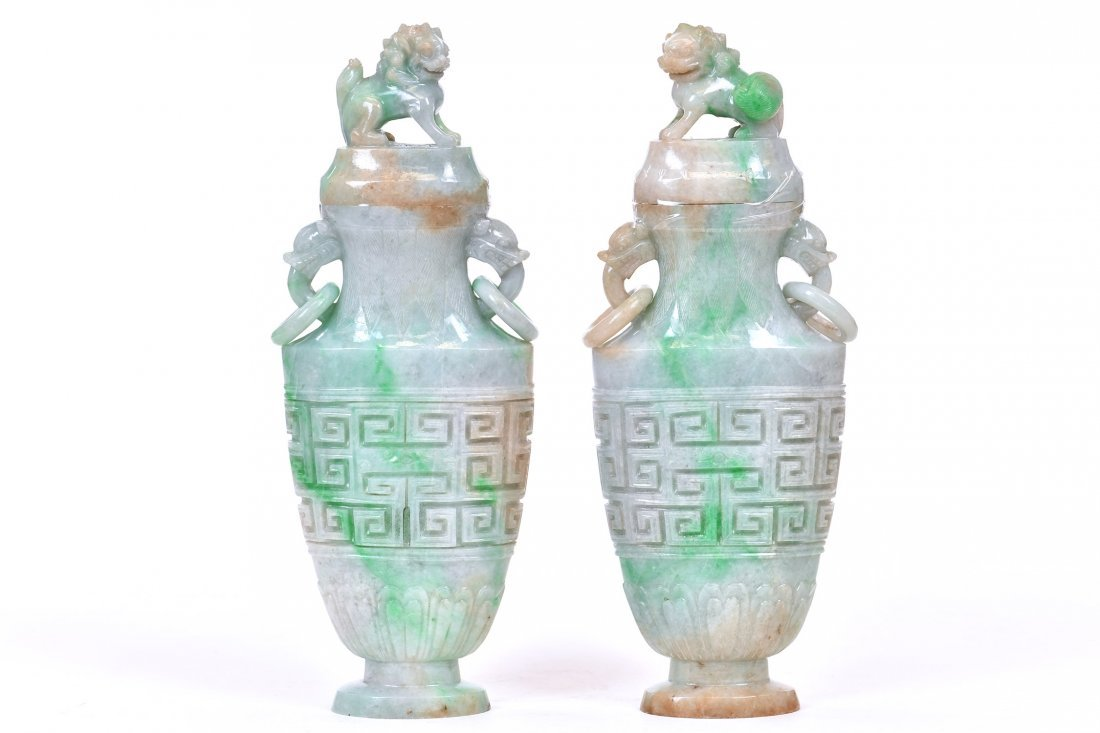 A Pair of Jade Vases and Covers, Chinese