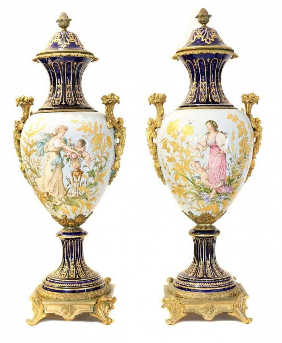 Pair Bronze mtd 'Sevres' Porcelain Urns