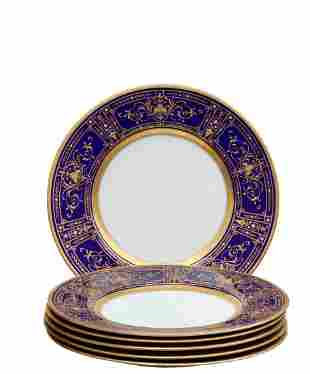 Six Mintons Gilt Porcelain Dinner Plates, Tiffany & Co.