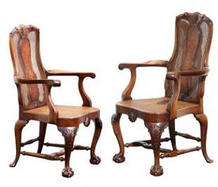 A Fine Pair of Chippendale Style Hardwood Arm Chairs