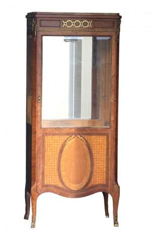 A Gilt-bronze Burr Amboyna and Mahogany Vitrine Cabinet