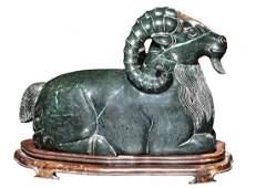 Large Pair of Black Jade Rams Chinese