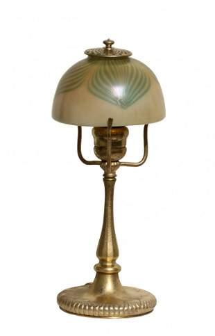 A Tiffany Favrile Glass and Gilt Bronze Desk Lamp