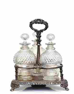 Victorian Silver-plated & Cut-glass 3 Piece Decanter