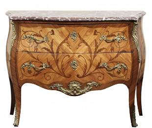 Louis XV Style Tulipwood & Amaranthe Marquetry Commode