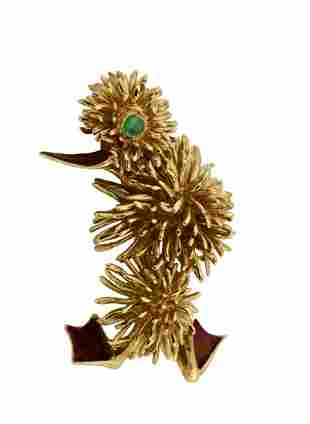 18kt Yellow Gold Brooch, Kutchinsky, 1960s