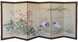 Beautiful Six Panel Screen, Meiji Period circa 1900