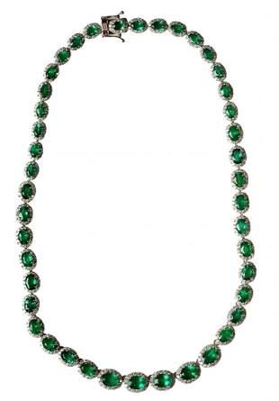 Eighteen Karat White Gold, Emerald and Diamond Necklace