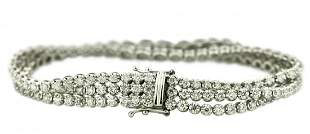Fine Three Row Diamond Bracelet