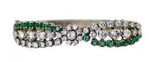 Diamond, Emerald and White Gold Bangle-Bangle