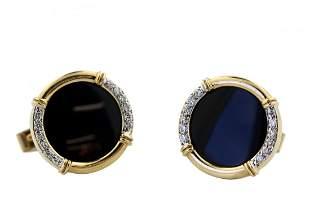 Pair of 14kt Yellow Gold, Onyx and Diamond Cufflinks