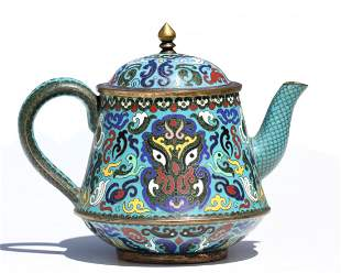 A Chinese Cloisonné Enamel Teapot and Cover