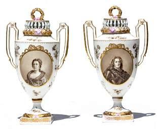 Pair of Porcelain Covered Potpourri Urns