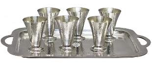 Six Sterling Silver Gorham Cocktail Cups and Tray