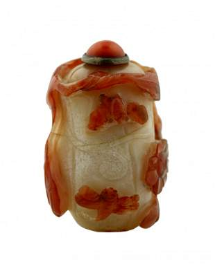 Chinese agate snuff bottle, Qing dynasty, 19th century