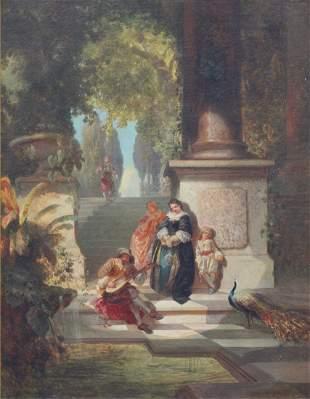 "Ernest Ochme (19th Century) ""Musician on a Terrace""."