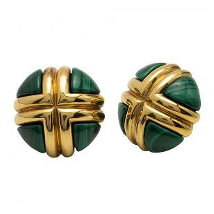 Pair of Malachite and Gold Earclips