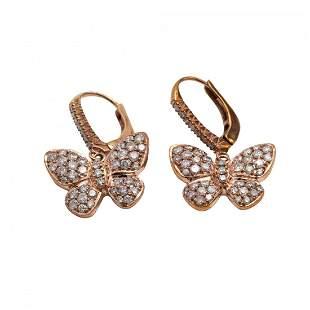Pair of Pink Diamond and Diamond Earrings