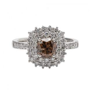Fancy Brown Diamond and Platinum Ring