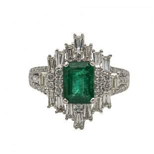 Platinum Emerald and Diamond Ring
