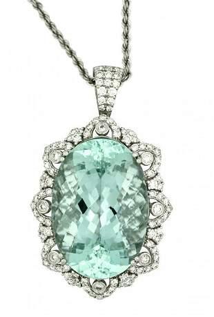 Platinum, Aquamarine and Diamond Pendant-Necklace
