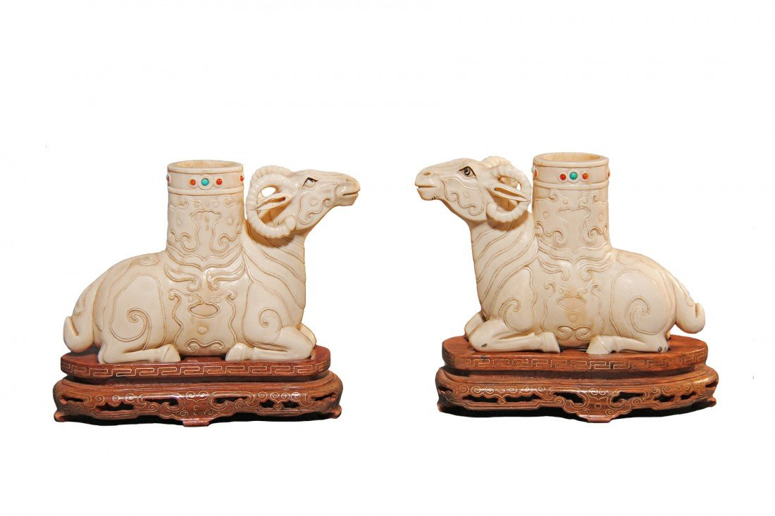 Pair of  Ivory Rams , Chinese