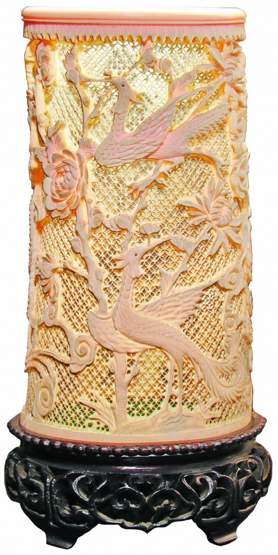 Ivory vase, Chinese, reticulated with Cranes