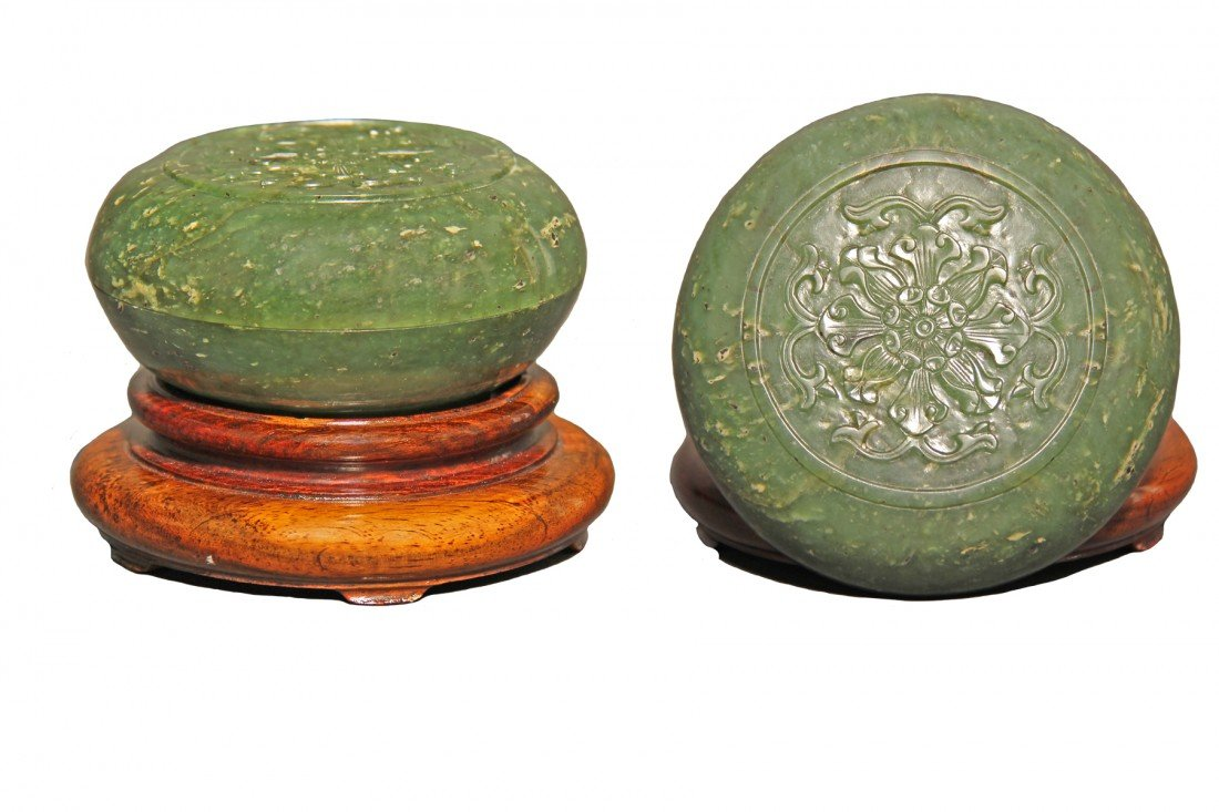 Chinese Jade Round Ink Box w/ Lid, Spinach Jade, 19th C