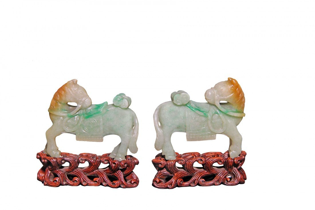 Pair of Jadeite horses, Chinese, Early 20th C