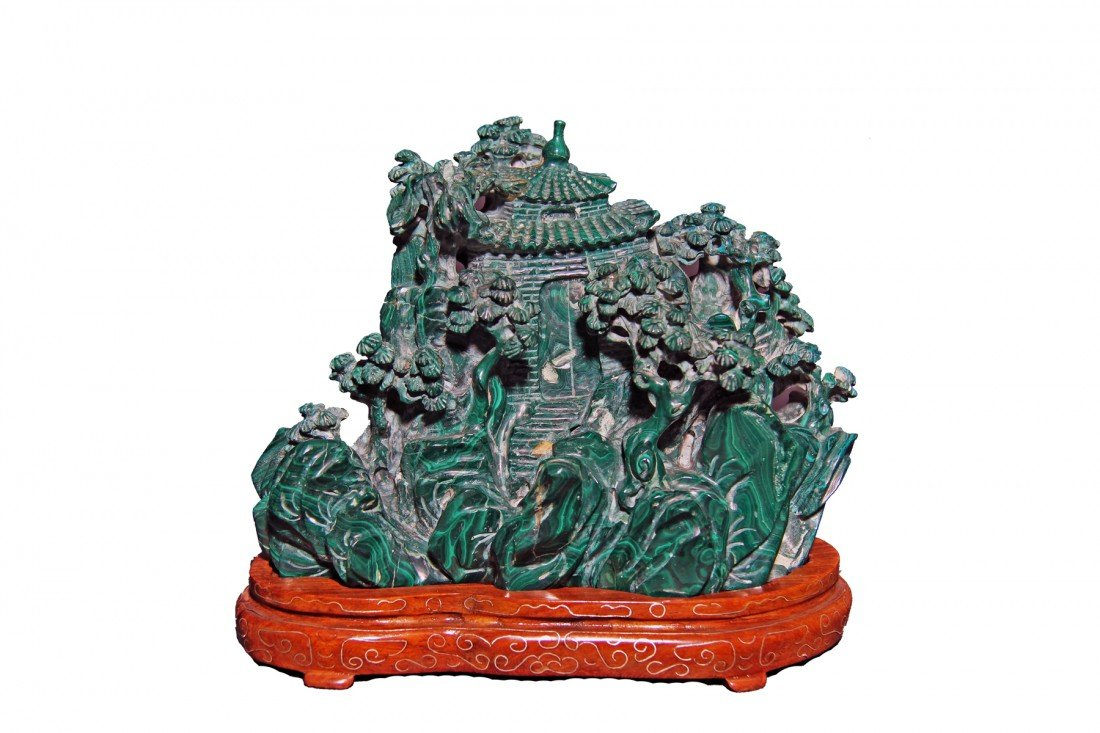 Chinese Malachite Model Pagoda, Wood Base